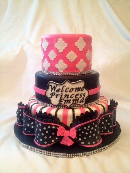 Baby Shower Cake Pink Black and White