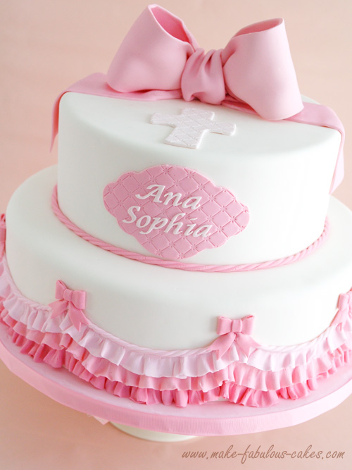 Baptism Pink Ombre Cake Ruffles