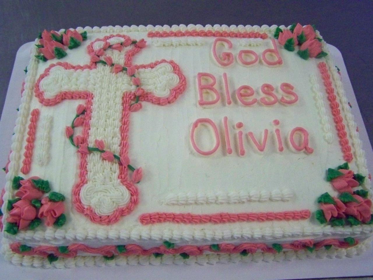 Baptism Sheet Cake with Cross