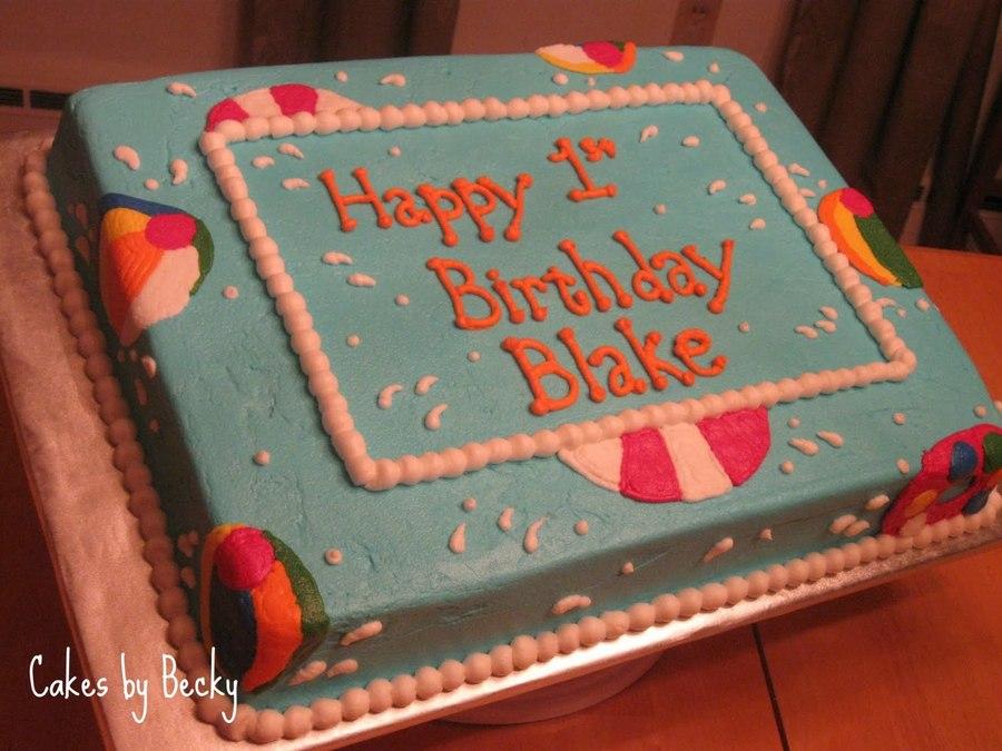 Beach Ball First Birthday Cake