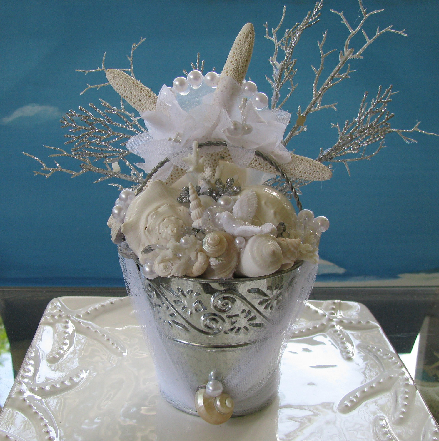 Beach Wedding Cake Topper Centerpiece