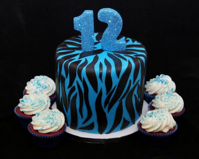 Black and Blue Birthday Cake