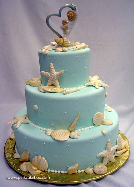 Blue Beach Themed Wedding Cake