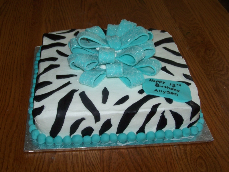 Blue Zebra Birthday Cake
