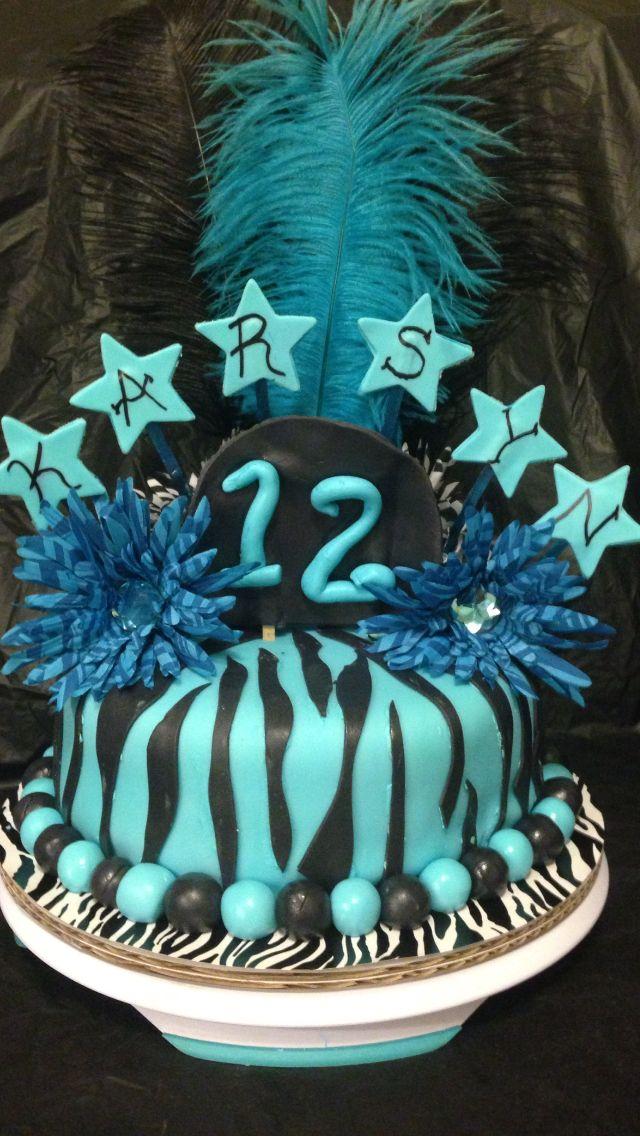Blue Zebra Print Birthday Cake