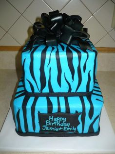 Blue Zebra Print Birthday Cake