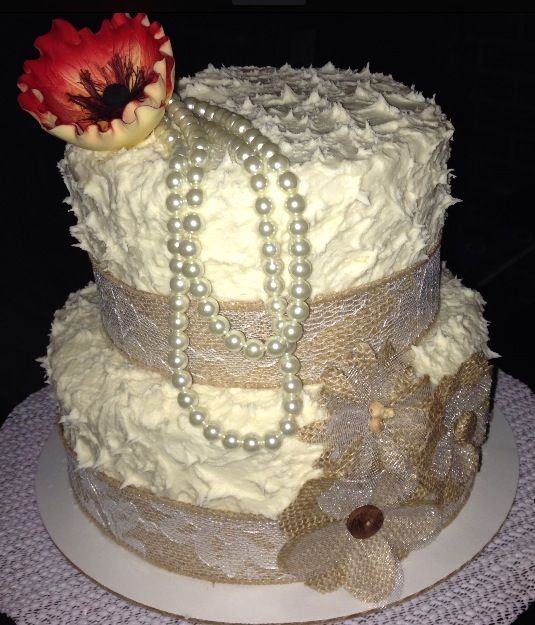 Burlap and Lace Birthday Cake