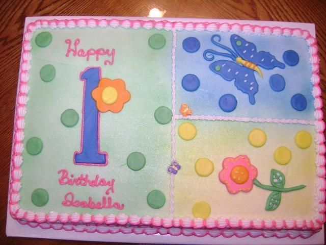 Butterfly 1st Birthday Sheet Cake