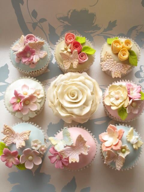 Butterfly and Flower Cupcakes