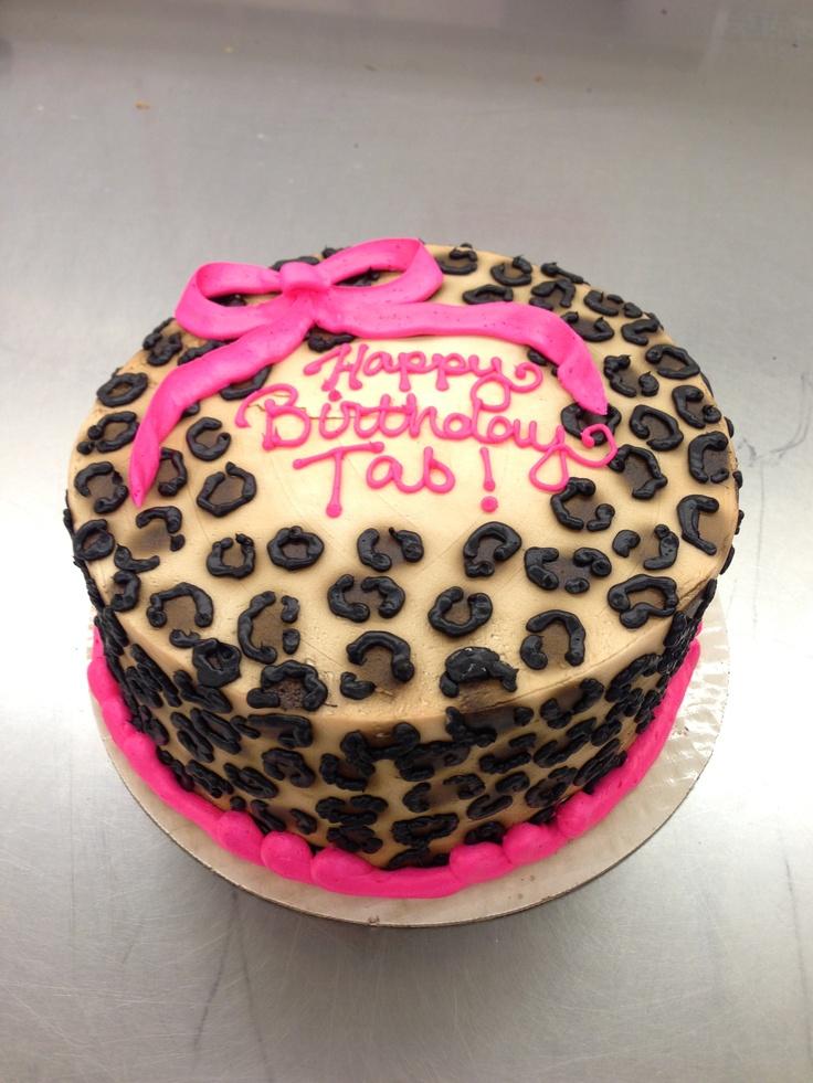 Cheetah Print Cake with Bow