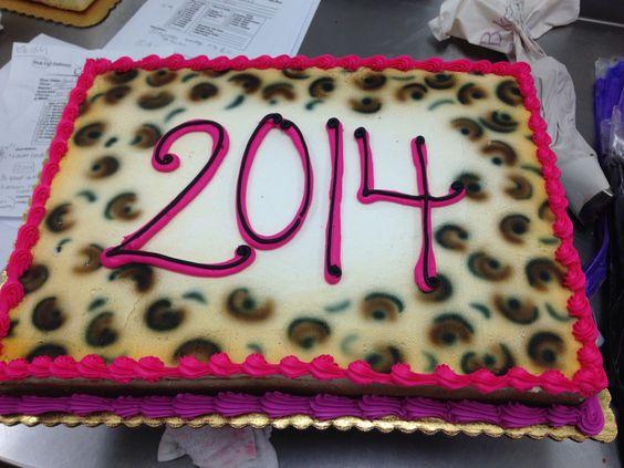 Cheetah Print Graduation Sheet Cake