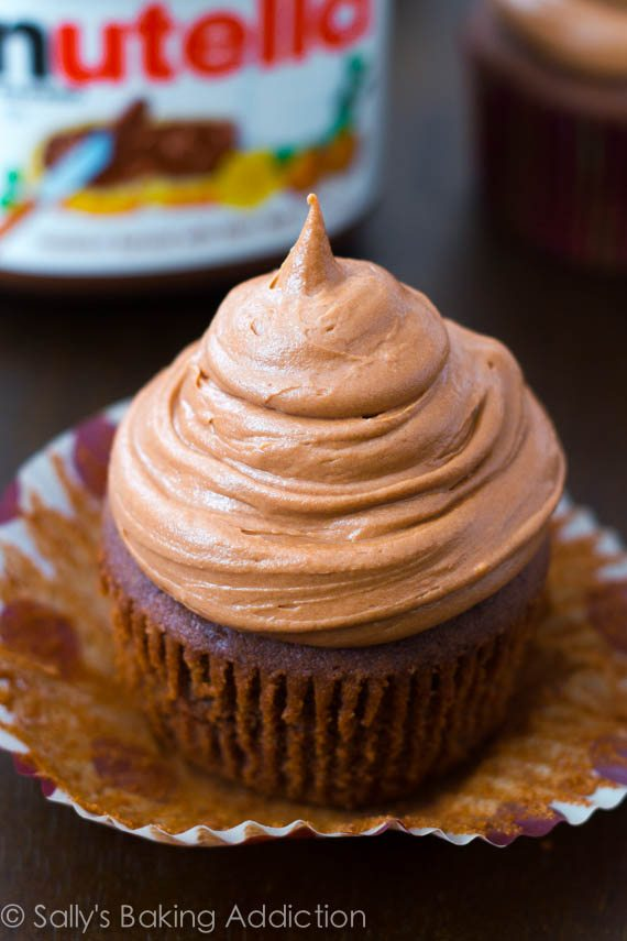 Chocolate Cupcakes with Nutella Frosting