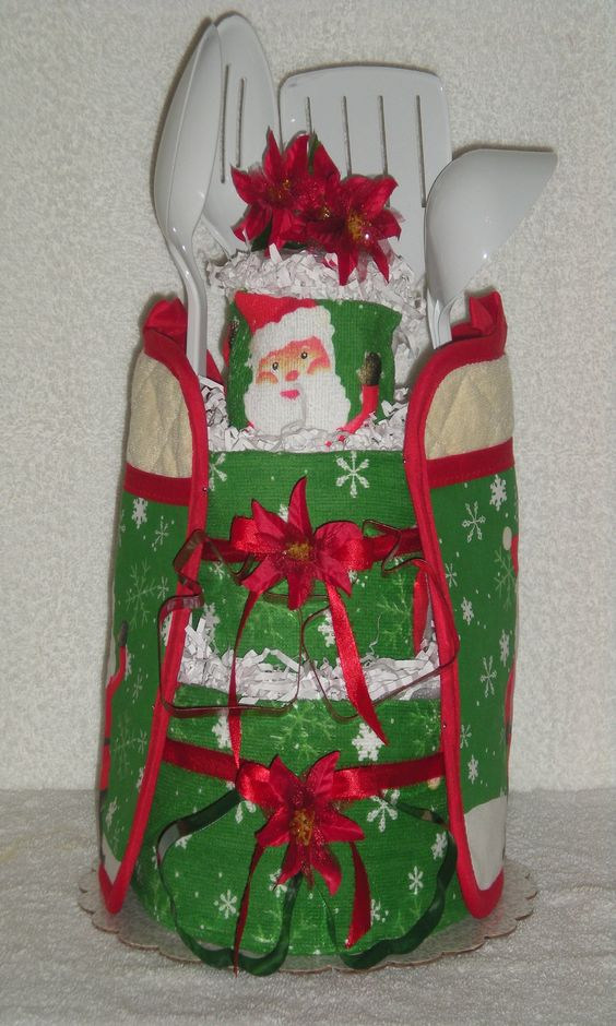 Christmas Kitchen Towel Cake