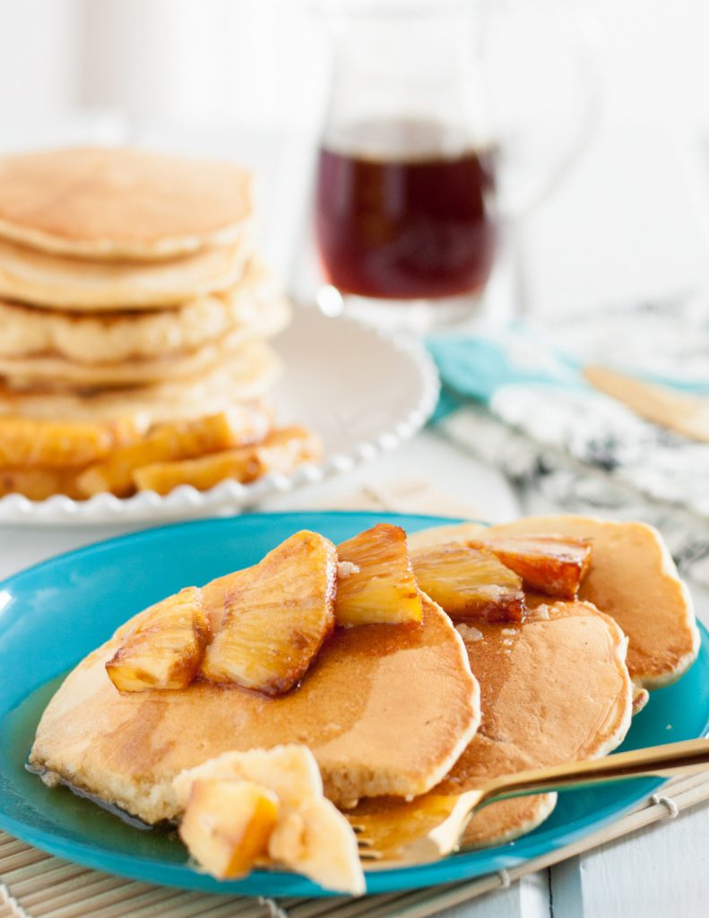 Coconut Pineapple Pancakes with Syrup