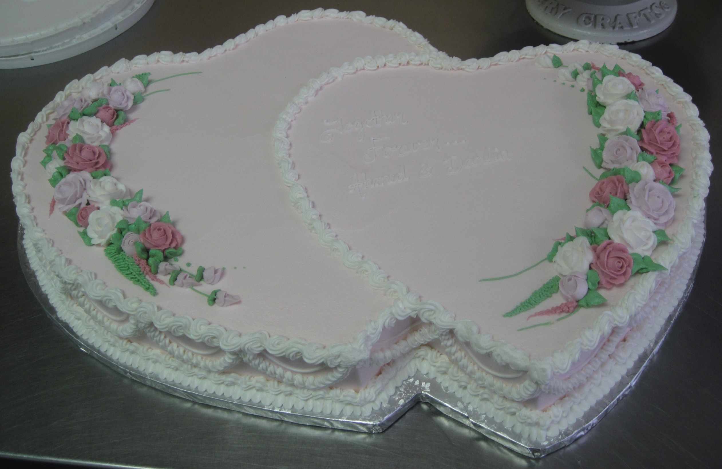 Double Heart Shaped Wedding Cakes