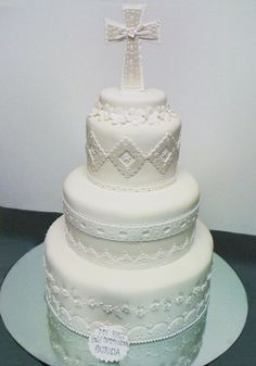 6 Photos of All White Tiered Communion Cakes