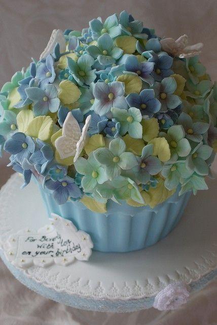 Giant Blue Hydrangea Cupcake