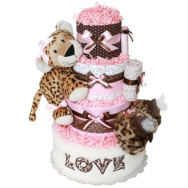 Girls Leopard Print Diaper Cake