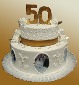 Golden Wedding Anniversary 2 Tier Cake