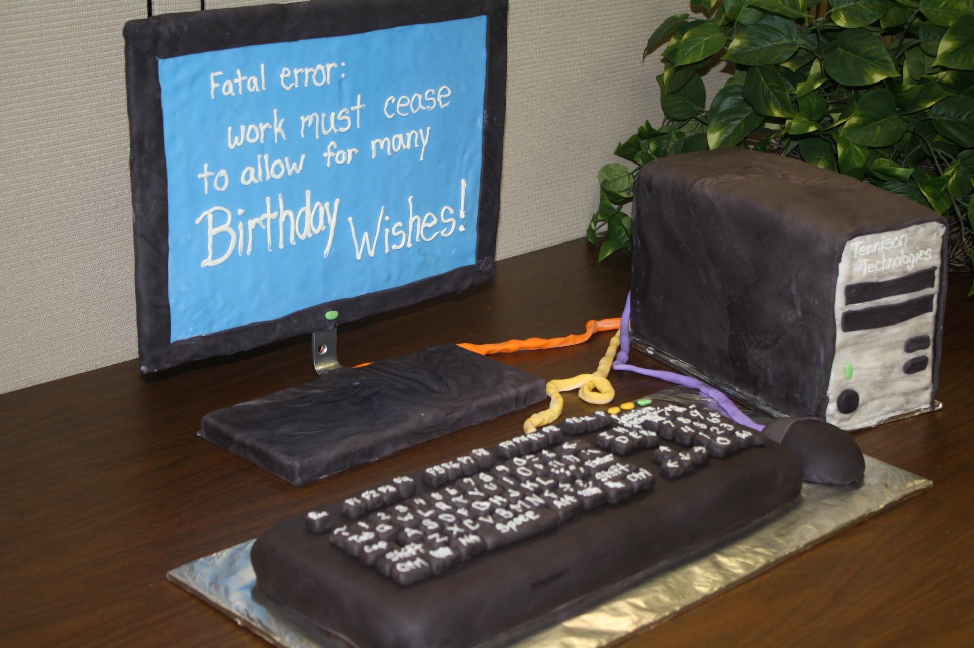 Happy Birthday Computer Cake