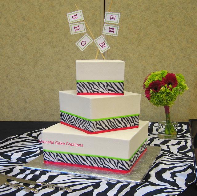 Hot Pink and Lime Green Zebra Print Cake