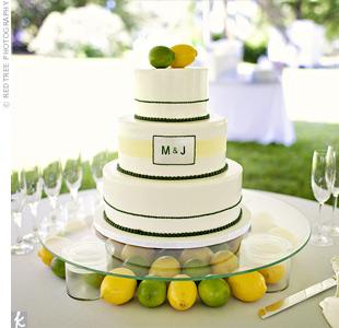Lemon Lime Green and Yellow Wedding Cake