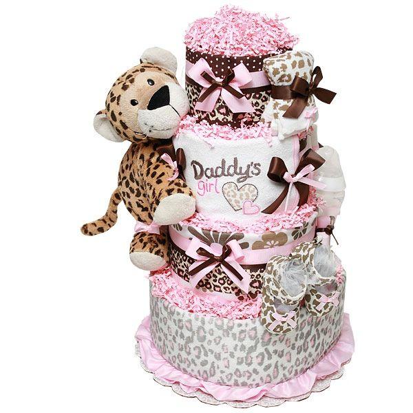 Leopard Girl Baby Shower Diaper Cake