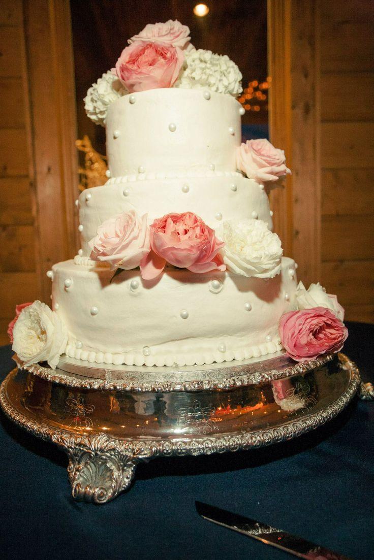 Navy Blue and Blush Wedding Cake
