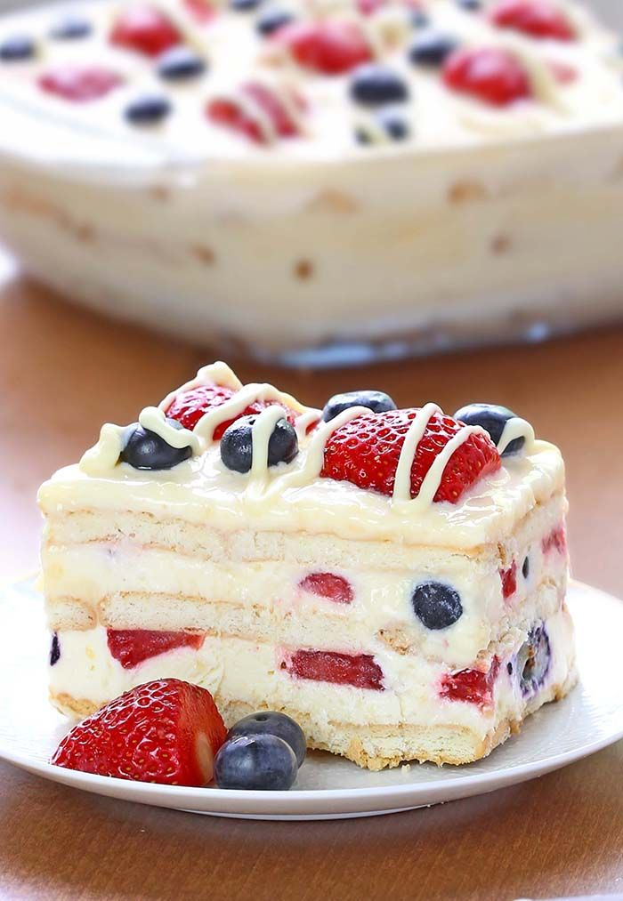 No-Bake Summer Berry Ice Box Cake Recipe
