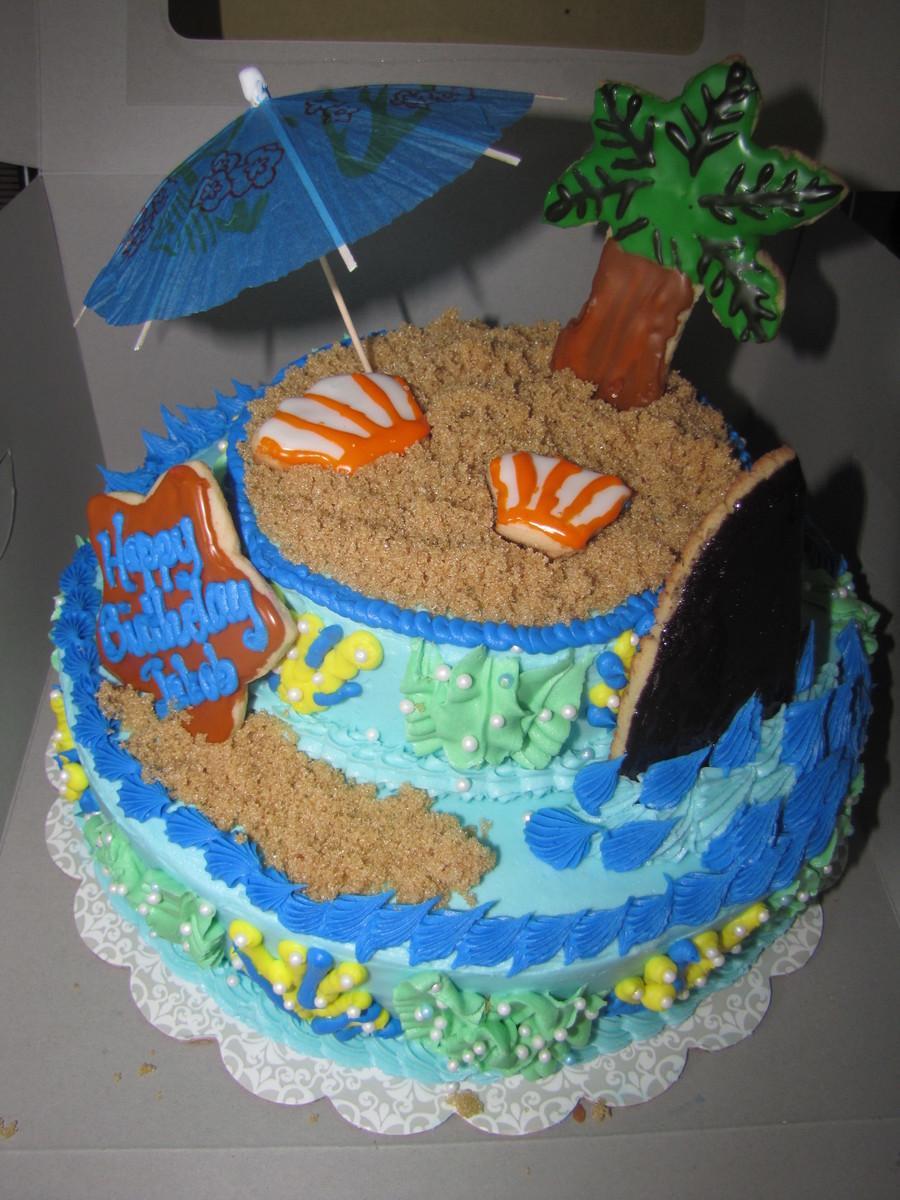 Ocean Beach Theme Cake