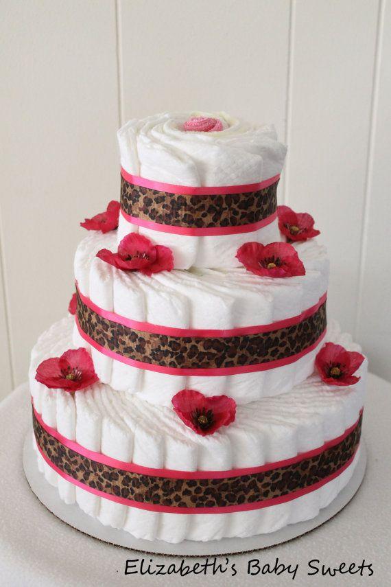 Pink Leopard Diaper Cake