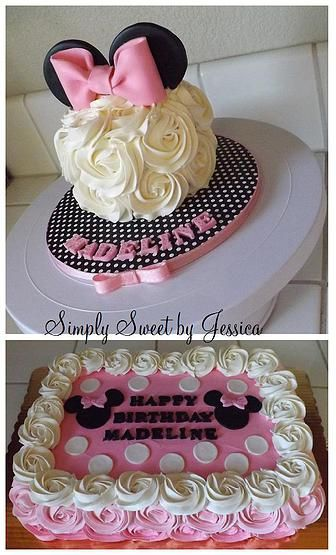 Pink Minnie Mouse Birthday Sheet Cakes