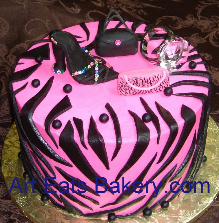 Pink Zebra Diva Birthday Cake