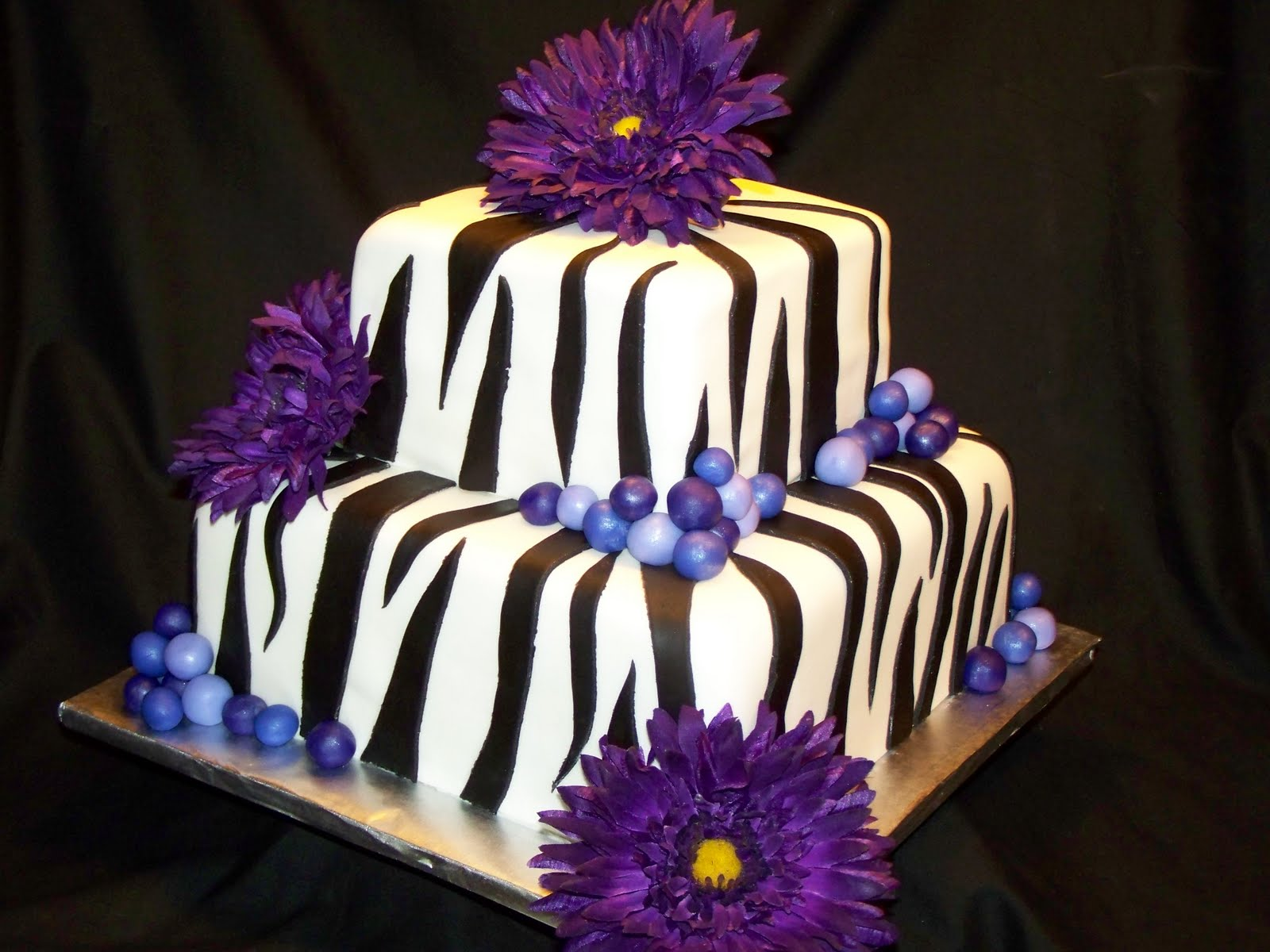 Purple and Black Zebra Print Cake