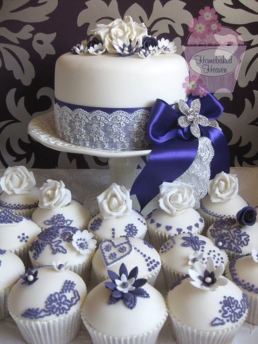 Royal Blue Wedding Cake and Cupcakes
