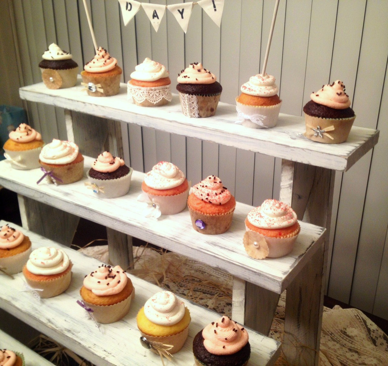 Rustic Cupcake Display Stands