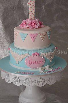 Vintage 1st Birthday Cake