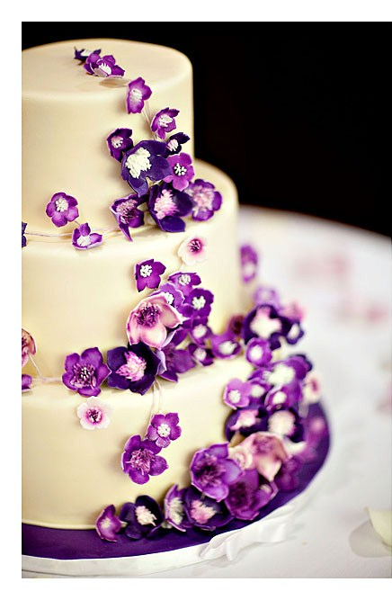 Wedding Cake Purple Flowers
