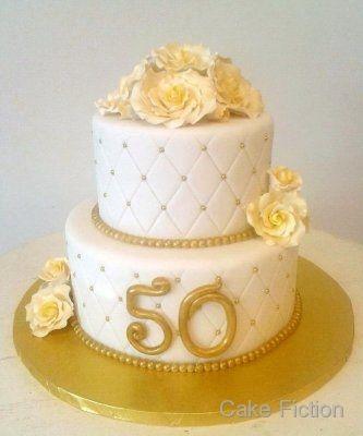 White and Gold 50th Anniversary Cake