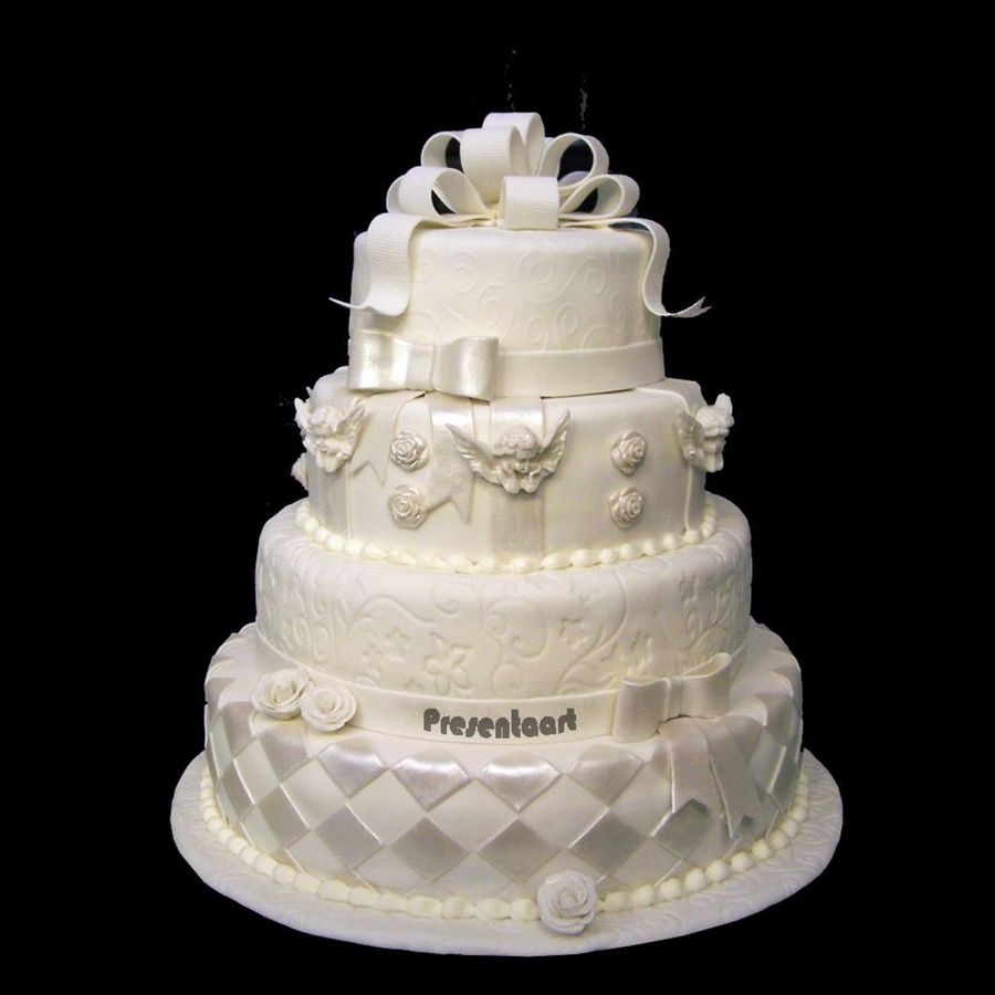 White Pearl Dust Wedding Cakes