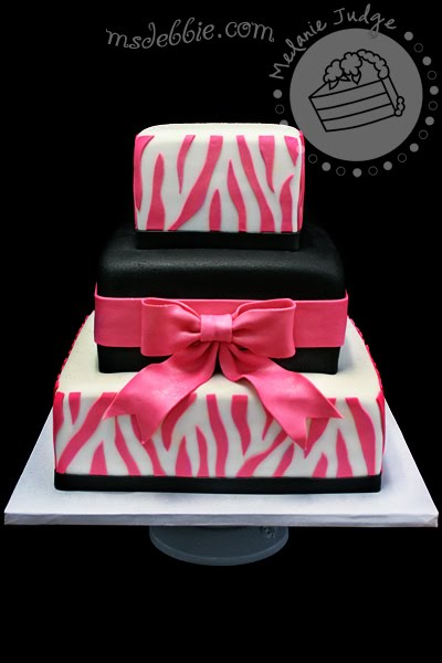 White & Pink Zebra Birthday Cake
