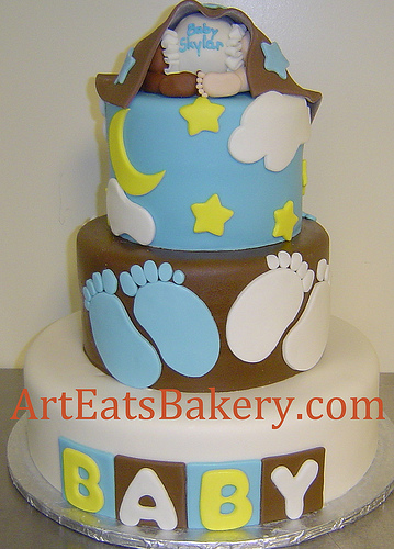 Yellow and Brown Baby Shower Cake