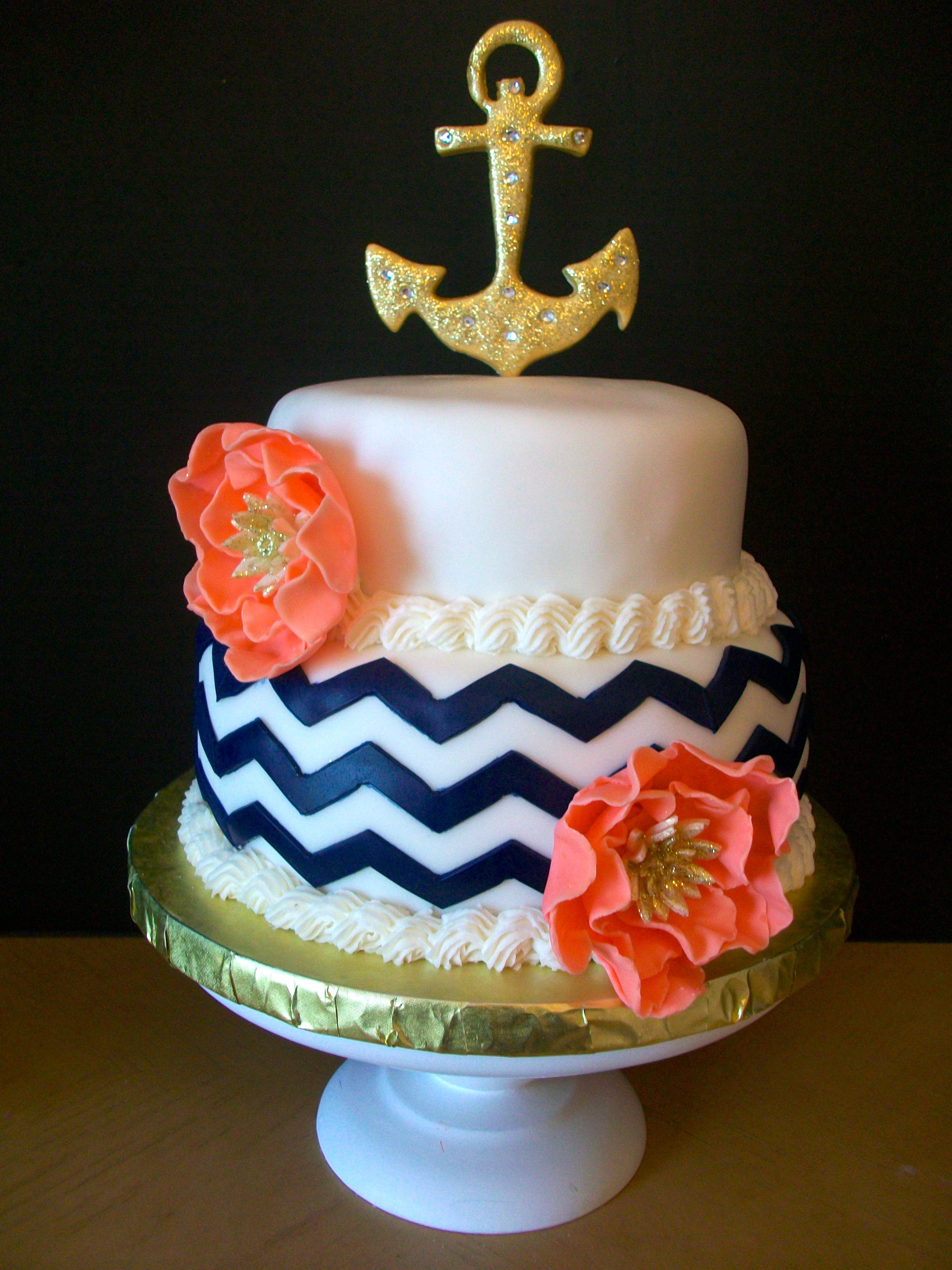 Anchor and Chevron Birthday Cake