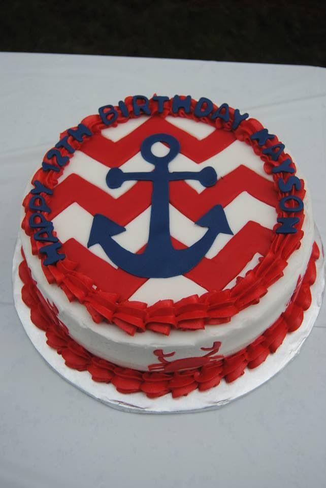 Anchor with Chevron Themed Birthday Cakes