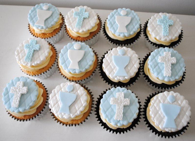 Baby Boy Baptism Cupcakes