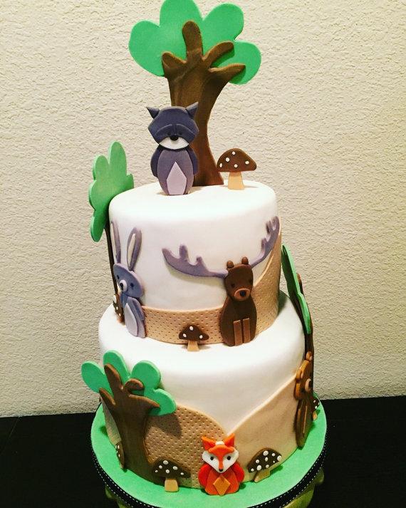 Baby Woodland Animals Cake Decorations