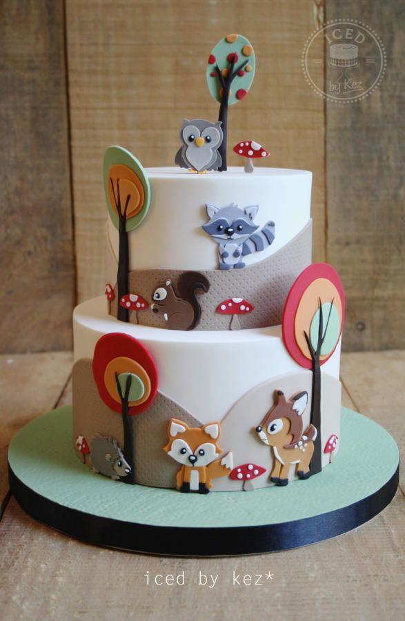 Baby Woodland Animals Cake