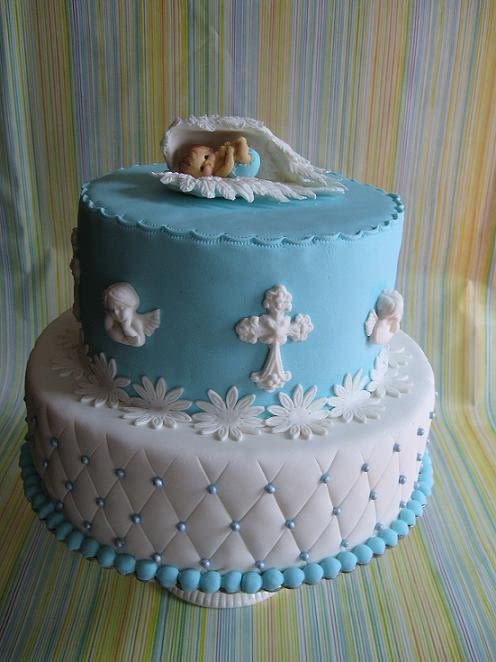 Baptism Cake with Angel
