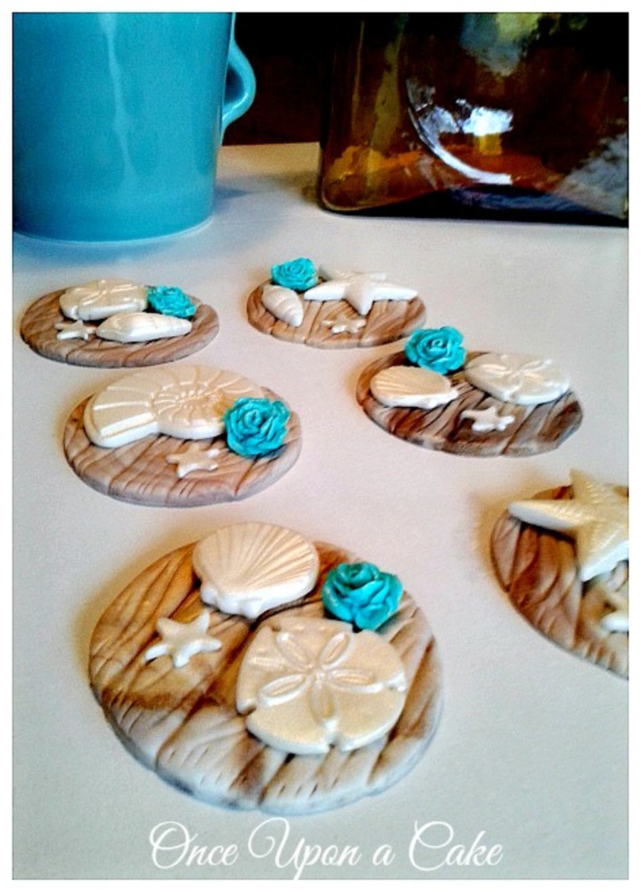Beach Cupcake Toppers Fondant