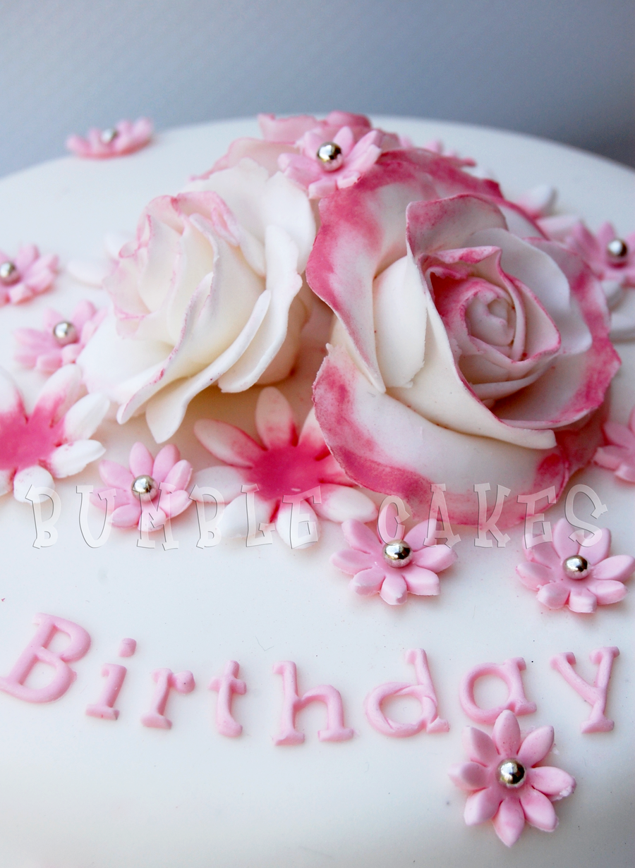Birthday Cake with Pink Roses